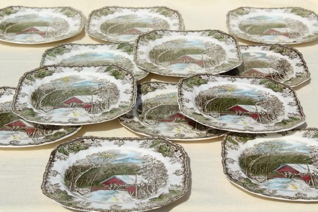 Friendly Village Johnson Bros vintage china set of 12 square salad plates & Friendly Village Johnson Bros vintage china set of 12 square salad ...