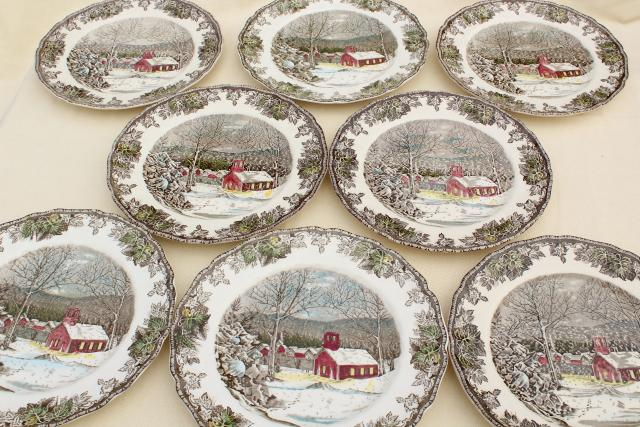 Friendly Village Johnson Bros vintage china set of 8 dinner plates schoolhouse scene & Friendly Village Johnson Bros vintage china set of 8 dinner plates ...