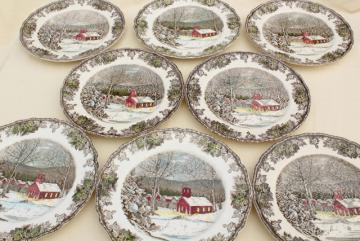 Friendly Village Johnson Bros vintage china, set of 8 dinner plates schoolhouse scene
