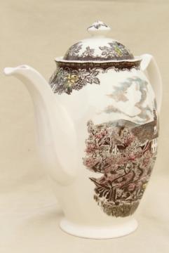 Friendly Village Johnson Bros vintage transferware china coffee pot