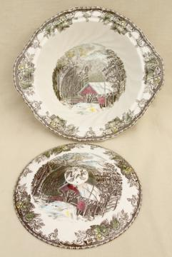 Friendly Village Johnson Bros vintage transferware china covered bowl serving dish