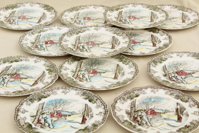 Friendly Village Johnson Bros vintage transferware china plates maple sugaring scene & Friendly Village Johnson Bros vintage transferware china plates ...