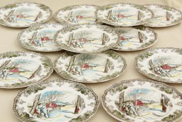 Friendly Village Johnson Bros vintage transferware china plates, maple sugaring scene