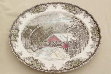 Friendly Village Johnson Bros vintage transferware china platter, scene