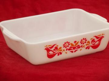 Friendship Pyrex baking pan or refrigerator dish, orange and red bird