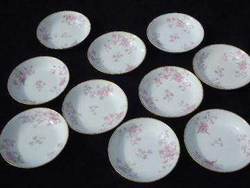 GDA Charles Field Haviland Limoges vintage pink floral china fruit bowls