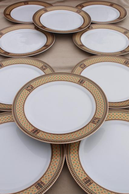 GNA fine porcelain plates w/ gold patterned border set of 10 dinner plates & GNA fine porcelain plates w/ gold patterned border set of 10 dinner ...