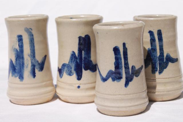 Galena made Dodge Station pottery, vintage stoneware pitcher & tumbler glasses