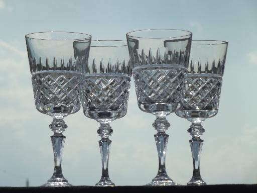 Galway Rathmore Cut Crystal Goblets Set Of Four Red Wine Glasses
