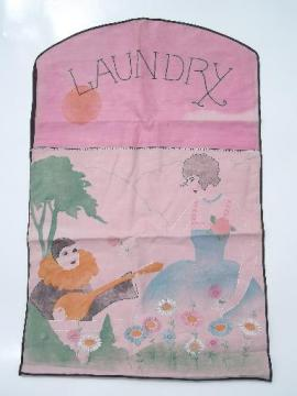 Gatsby vintage  embroidered cotton laundry bag, folding garment bag for travel