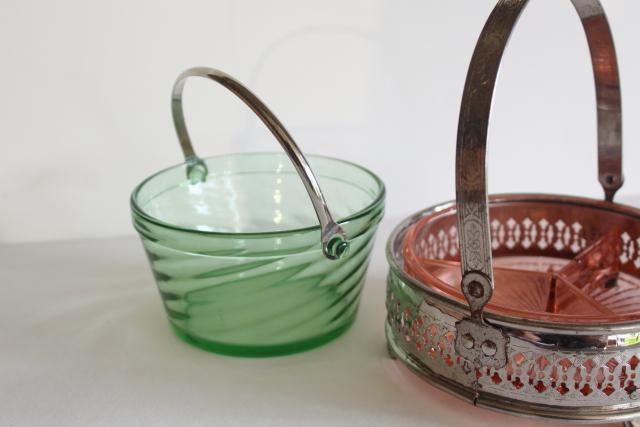 Gatsby vintage green & pink depression glass, ice bucket & chrome basket mint candy dish
