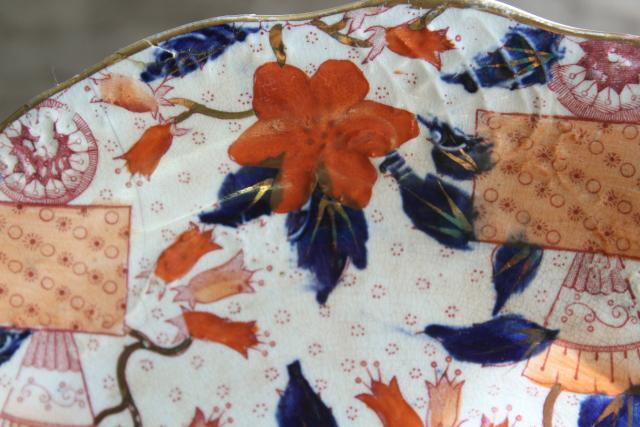 Gaudy Welsh red flow blue antique china plate, old crown Fleming Glasgow mark