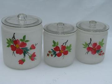 Gay Fad hand-painted vintage glass kitchen canister jars, red flowers