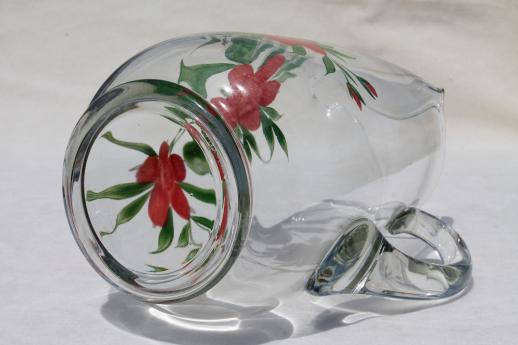 Gay Fad vintage hand-painted glass lemonade pitcher, clear glass pitcher w/ red flowers