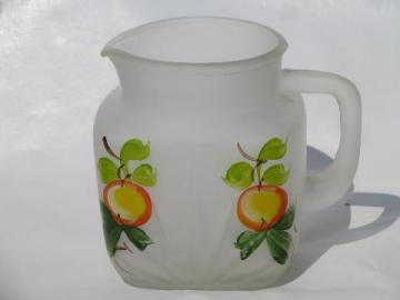 Gay Fad vintage hand-painted orange juice pitcher, frosted satin glass