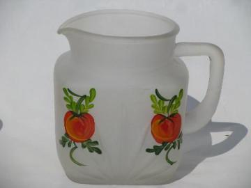 Gay Fad vintage hand-painted tomato juice pitcher, frosted satin glass