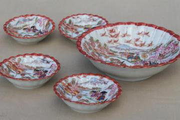 Geisha girl china, vintage hand-painted Japan porcelain berry bowls fruit bowl set