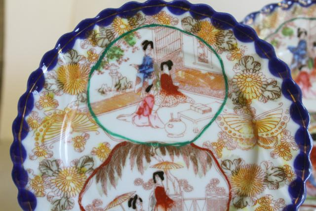 Geisha girl hand painted porcelain tea cups saucers plates set vintage Japan