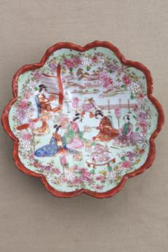 Geisha girl hand-painted china, vintage Japan Geishaware porcelain fluted bowl