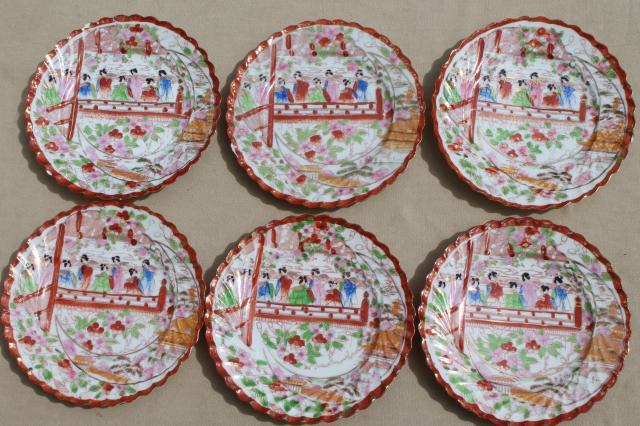Geisha girl hand-painted china vintage Japan Geishaware porcelain plates set & Geisha girl hand-painted china vintage Japan Geishaware porcelain ...