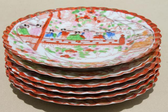 Geisha girl hand-painted china, vintage Japan Geishaware porcelain plates set