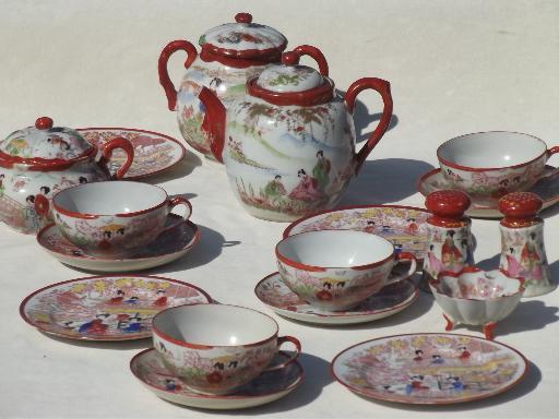Geisha Girl Hand Painted China Vintage Japan Porcelain Tea Pot Set