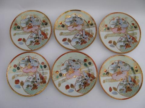 Geisha girl pattern china, vintage hand-painted Japan - six salad plates