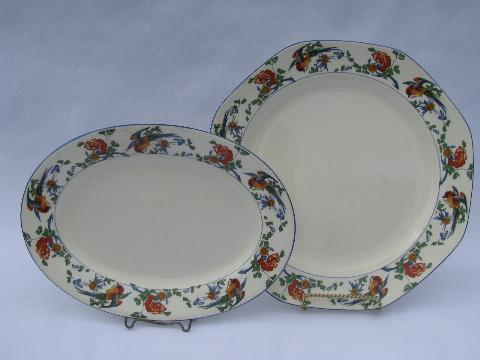 George Jones - England, antique Golden Pheasant pattern china for 14
