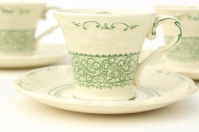 George Jones England china demitasse coffee cups & saucers, Genoa green embossed creamware