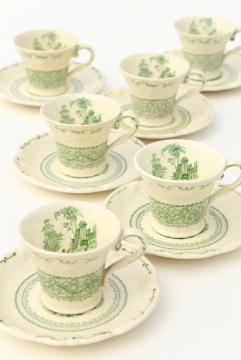 George Jones England china demitasse coffee cups & saucers, Genoa green embossed creamware