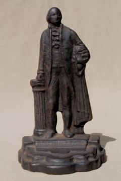 George Washington figural cast iron book end, single statue figure from set of vintage bookends