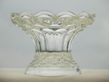 Georgian Dominion pattern glass vase / punch bowl stand, vintage LE Smith