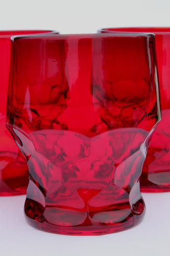 Georgian Pattern Drinking Glasses Set Ruby Red Glass Old