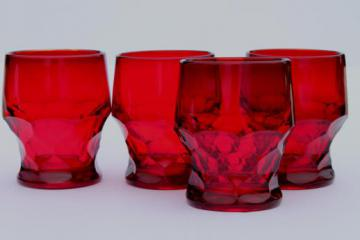 Georgian pattern drinking glasses set, ruby red glass old-fashioned tumblers