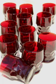 Georgian pattern glass tumblers, vintage Anchor Hocking royal ruby red glassware