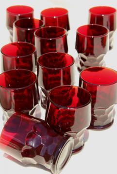 Georgian pattern glass tumblers, vintage Anchor Hocking royal ruby red glassware