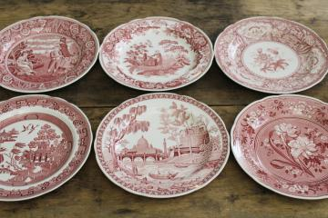 Georgian series set of six Spode china dinner plates archive patterns cranberry red