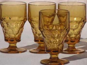 Georgian thumbprint pattern amber glass footed tumblers or iced tea glasses