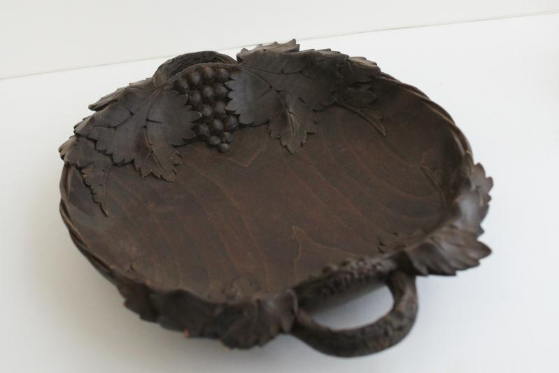 German black forest style carved wood bowl or tray, grapes & leaf carving
