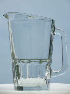Gibraltar Libbey glass pitcher, vintage restaurant ware glass pitcher