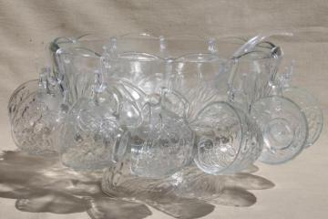 Gibson glass punch bowl & cups set, Concord harvest fruit pattern glass w/ cherries