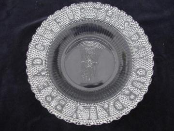 Give Us This Day Our Daily Bread, vintage pressed glass tray plate