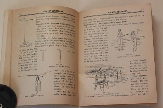 Glass Blowing instruction book, antique Gilbert science kit booklet w/ steampunk vintage graphics