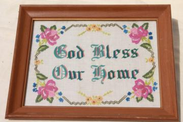 God Bless Our Home crewel work embroidered motto, framed vintage embroidery