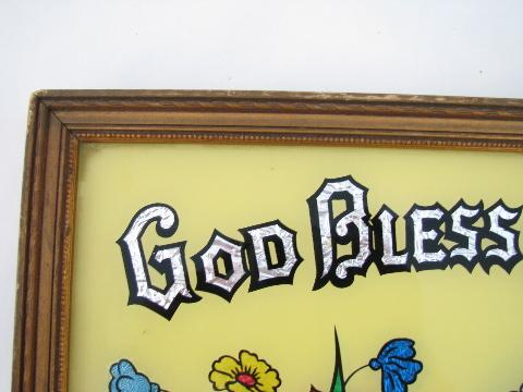God Bless Our Home, vintage painted glass motto w/ old religous picture