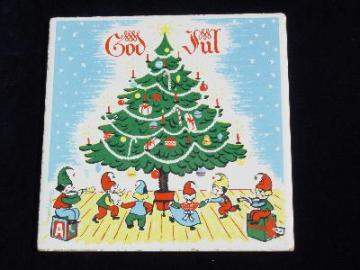 God Jul Christmas tile trivet, Berggren rosemaling