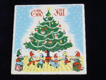 God Jul Christmas tile trivet, Berggren rosemaling