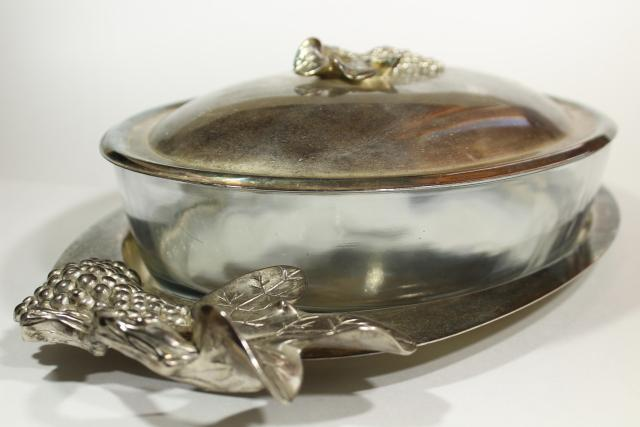 Godinger grapes pattern silver plate tray & oval glass 3 qt casserole dish