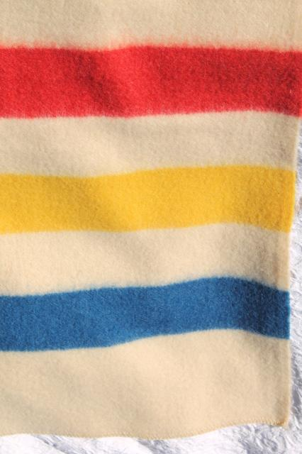 Golden Dawn Hudson's Bay stripe blanket, unused vintage wool camp blanket