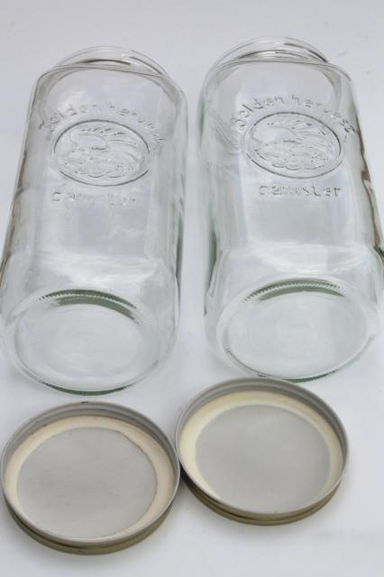 Golden Harvest glass mason jar canisters, half-gallon canister jars w/ lids